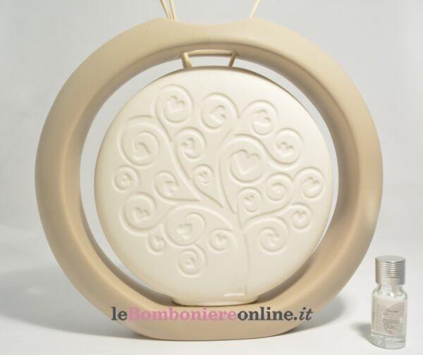 profumatore vaso in porcellana decoro albero della vita con kit essenza Claraluna