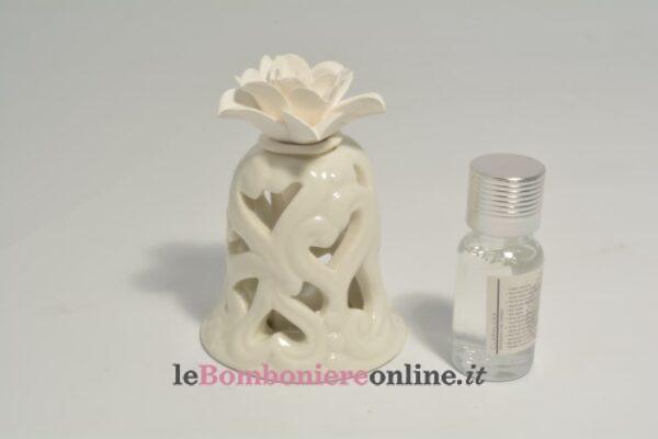 diffusore campana in porcellana traforata con kit essenza e led Claraluna