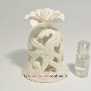 diffusore campana in porcellana e fiore in gesso con essenza Claraluna