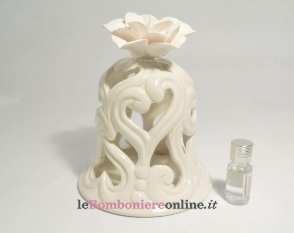 diffusore campana in porcellana traforata con led Claraluna