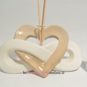 diffusore in porcellana cuore e infinitocon essenza Claraluna
