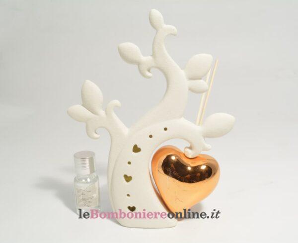 diffusore cuore in porcellana con essenza Claraluna