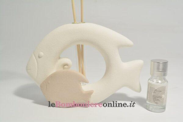 diffusore coppia pesci in porcellana con kit essenza Claraluna