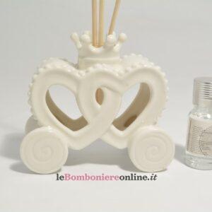 diffusore carrozza in porcellana bianca con kit essenza Claraluna