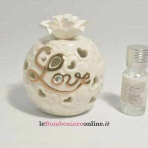 diffusore in porcellana tappo in gesso con led Claraluna