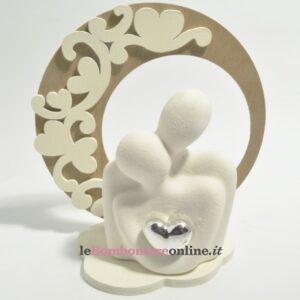 busto coppia in porcellana con base in legno Claraluna