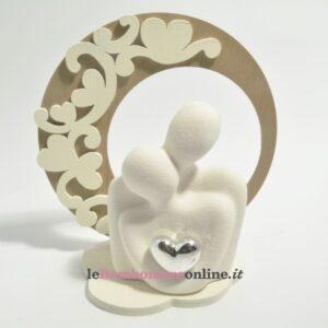 coppia busto in porcellana con supporto in legno Claraluna