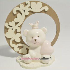 orsetto in porcellana rosa su base legno Claraluna