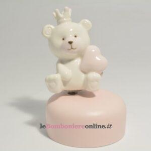 carillon con orsetto in porcellana rosa Claraluna