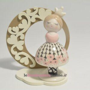 principessa in porcellana su base legno Claraluna