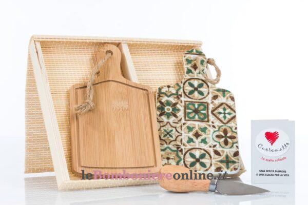 coppia di taglieri in legno e porcellana Cuorematto