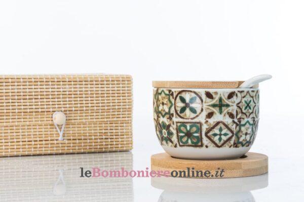 zuccheriera in porcellana e legno Cuorematto