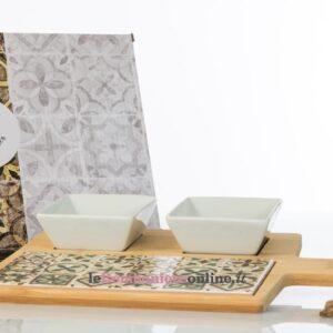 tagliere in legno e ciotole in porcellana Cuorematto
