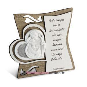 Icona legno con poesia Sacra Famiglia Debora Carlucci