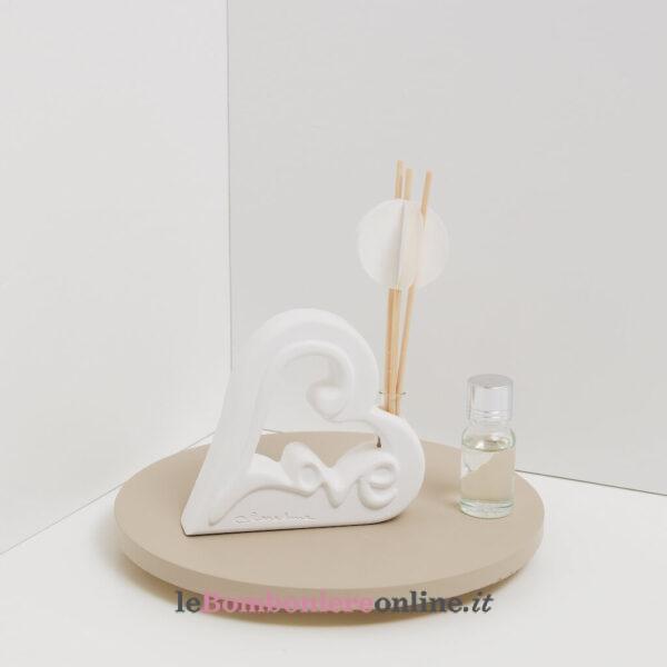 diffusore in gesso Love con kit essenza e origami Claraluna