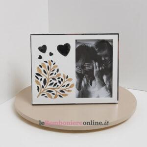 Portafoto con decoro albero e cuori Claraluna