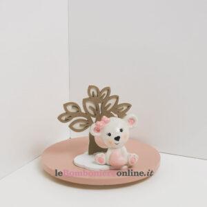 orsetto in porcellana rosa con supporto legno Claraluna