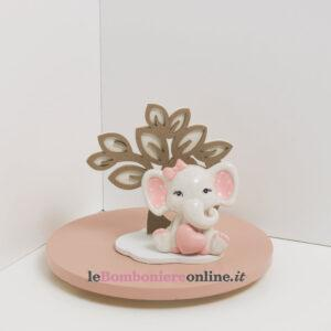 elefantino in porcellana rosa con supporto in legno Claraluna