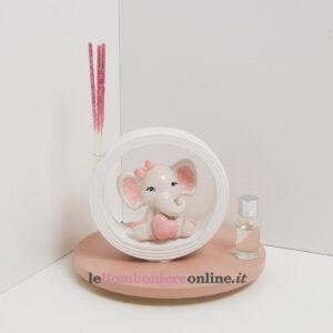 profumatore con elefantino in porcellana rosa Claraluna