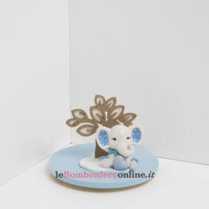 elefantino in porcellana celeste con supporto in legno Claraluna