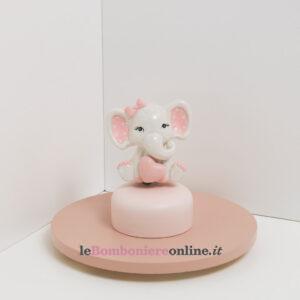 carillon con elefantino in porcellana rosa Claraluna