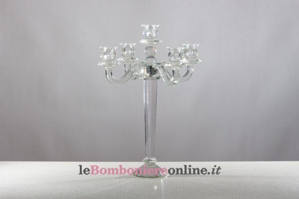 Candeliere in cristallo 5 fiamme Morena