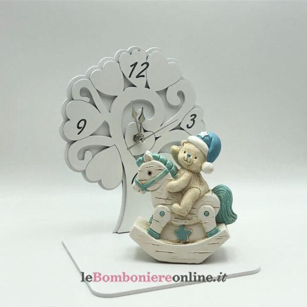 orologio in legno con orsetto su dondolo Mariella Martini