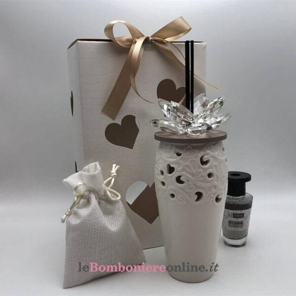 Profumatore in porcellana e fiore cristallo Mariella Martini