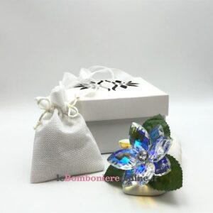 Cornucopia in porcellana con fiore in cristallo Mariella Martini